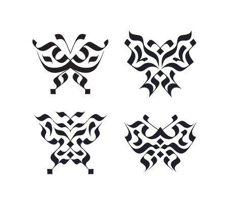 fragility: Set of calligraphy strokes butterfly symbols. Beauty concepts pack.