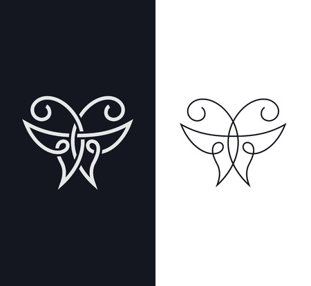 overlapped: Overlapped one-line butterfly logo, sign, symbol. Geometrical beauty concept.