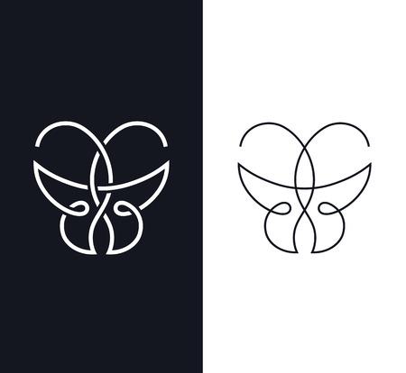 Logo a farfalla, segno, simbolo sovrapposto. Concetto di bellezza geometrica.