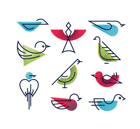 Set of geometrical monoline and color with halftone texture abstract birds, isolated line nature life symbols.