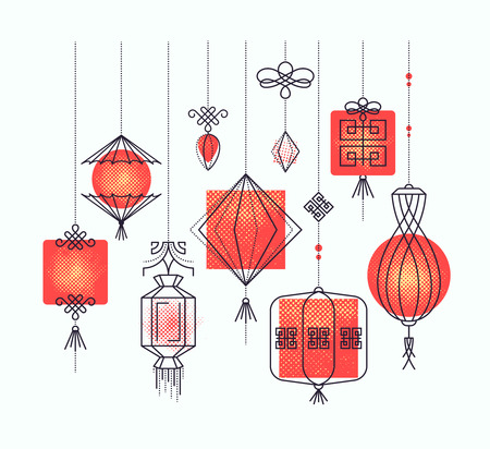 Vector set of asian street and holiday lanterns, chinese culture decorations. Monoline and halftone objects, no gradients. Easy to combine.