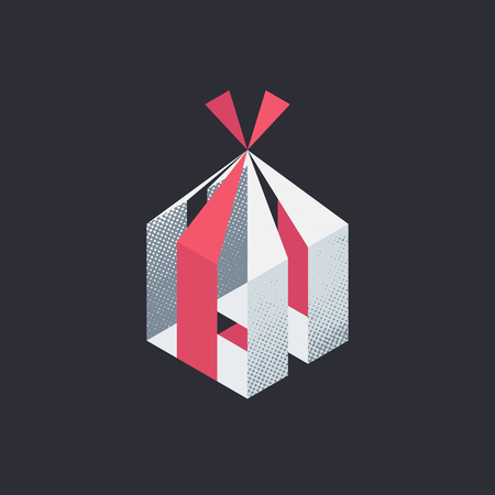 surprise box: Gift box, isolated vector symbol, holiday surprise.