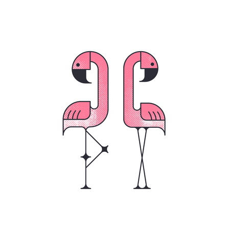 Two geometrical flat vector flamingo birds. Illustration