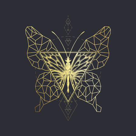 graphical: Vector graphical butterfly design. Golden sacred geometry illustration. Not auto-trace.