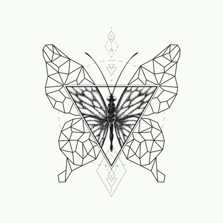 graphical: Vector graphical butterfly design. Black sacred geometry and realistic illustration. Not auto-trace.