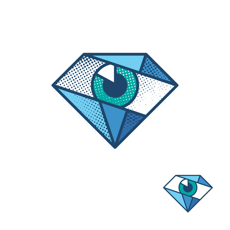 spec: An eye as a diamond corporate identity symbol. Vector label for a medical, optics or security service company. Ophthalmological logo, logotype. Halftone and solid colors without textures versions.