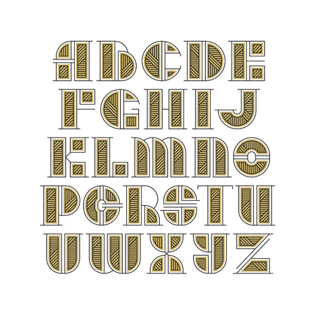 initial cap: Vector drop caps set. Alphabet of line and gold style color letters. Latin type of modern initials.