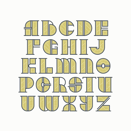 initial cap: Vector alphabet of line and gold style color letters. Latin type of modern initials.