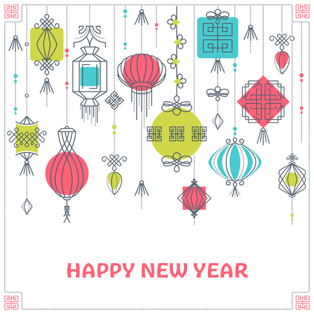 color of year: Vector postcard with asian street and holiday lanterns, chinese cultural decorative background, New Year greeting card. Monoline and geometrical color shapes garlands, no gradients.