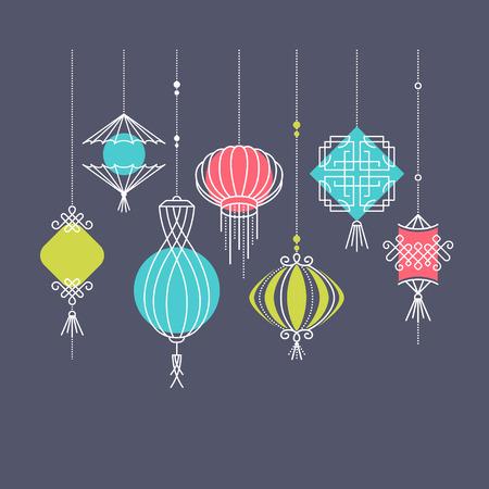 combines: Conjunto de vector de la calle asiática y las linternas de vacaciones para fondos oscuros, decoraciones de cultura china. Monoline y objetos geométricos de formas de color, sin gradientes. Fácil de combinar.