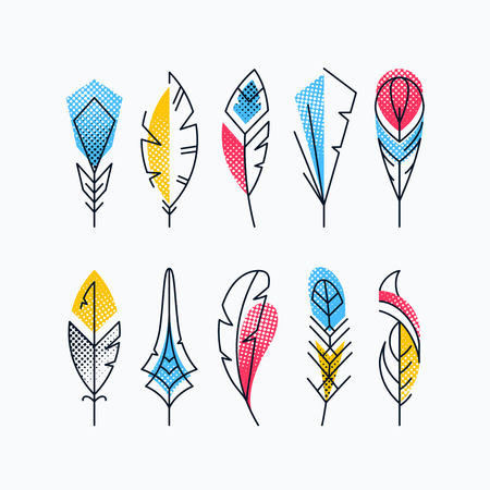 Set di piume astratte colorate. Mezzitoni martellata simboli vettoriali linea luminosa. Vettoriali