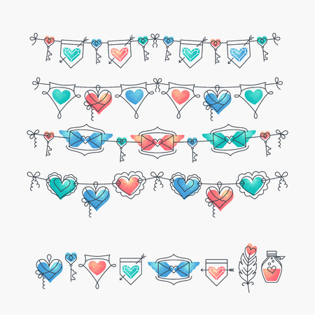 wedding love: Set of isolated love theme icons and bunting, Valentines day and wedding mono line design elements, romantical decorations with hearts. Illustration