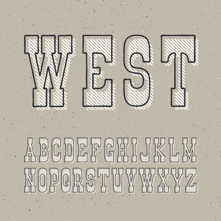 western script: Serif bold outline font with textured layer. Vintage wild west and craft style poster typeface. Set of retro style latin capital letters.