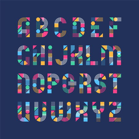 decorative lines: Geometrical shapes, lines and color blocks latin font, pop art graphical decorative type. Illustration