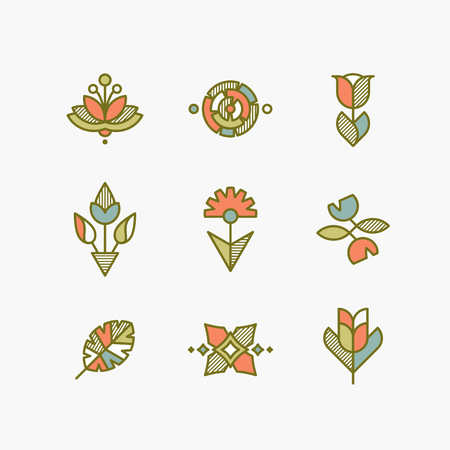 conceptual: Vector set of isolated abstract flowers and plants. Decorative design elements.