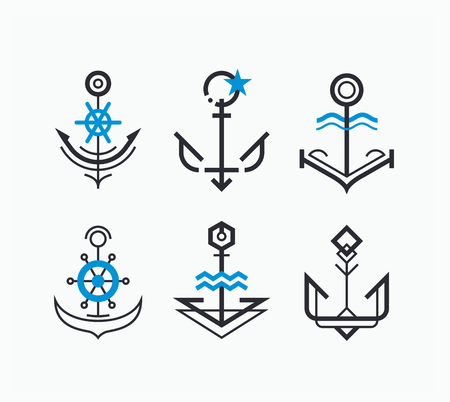 Abstract geometry anchor symbols set. Nautical icons collection.