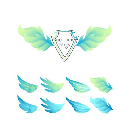 Abstrakte Farbverlaufsflügel eingestellt. Grüne und blaue isolierte Objekte.
