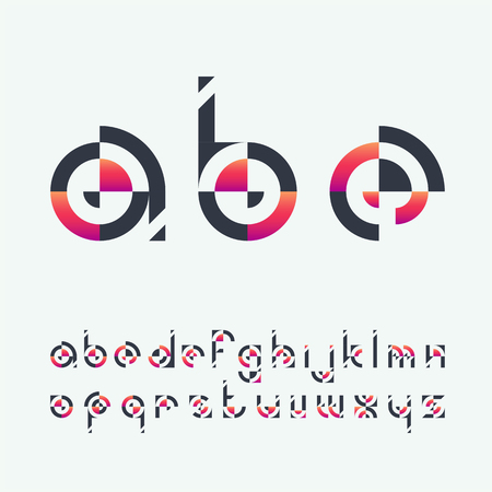 initial cap: Geometrical shapes black and vibrant gradient latin font, graphical decorative lowercase color type.