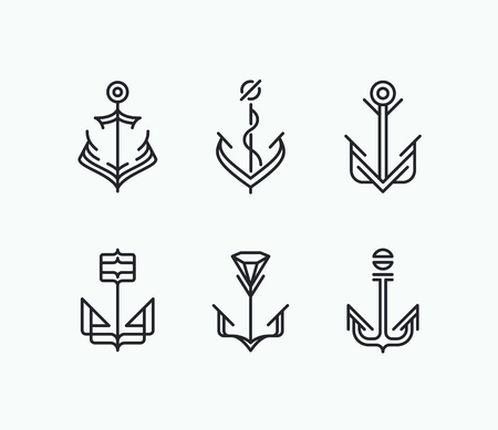Abstract monoline geometry anchor symbols set. Nautical icons collection.