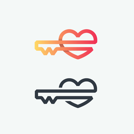 Thick line logo, vector symbol of heart key, line graphical gradient and black love and romantical secret emblem.