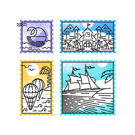 Set of monoline postage stamps, sea vacation and marine theme. Postal decorations for letters and designs.