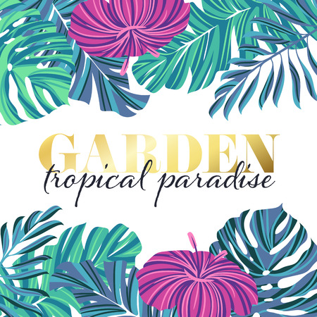 modern garden: Tropical garden poster design, summer floral banner, modern vector square background. Illustration