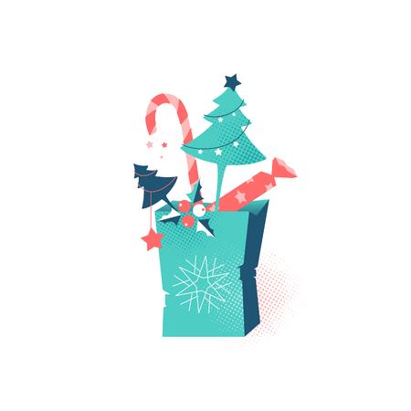 Christmas tree decorative shopping bag, winter holiday vector flat illustration.