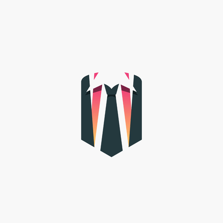 Businessman concept, logo, shirt and tie in a shape of shield vector symbol. Illustration