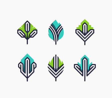 tree logo: Graphical leaf symbols set, color and line geometrical design elements, ecological icons, logo.