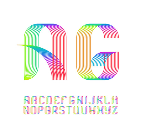 Color vibrant gradient line geometrical latin font, bright spectrum graphical decorative colorful type.