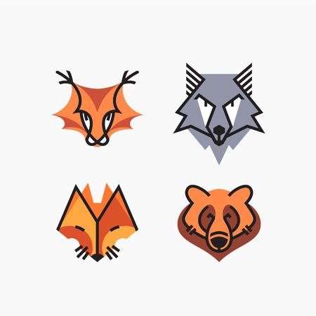 A Vector set of flat line and color design animals. Decorative elements, icons, symbols, mascots.