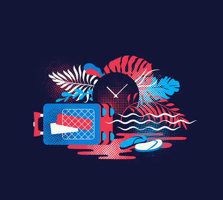 Traveling, sea trip and vacations vibrant color illustration. Time to have a rest. Isolated vector concept of tourism, luggage and ocean holidays.