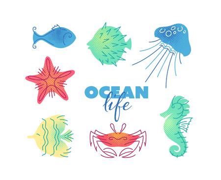 Marine life color flat illustrations. Isolated icons, sea and ocean creatures. Illustration