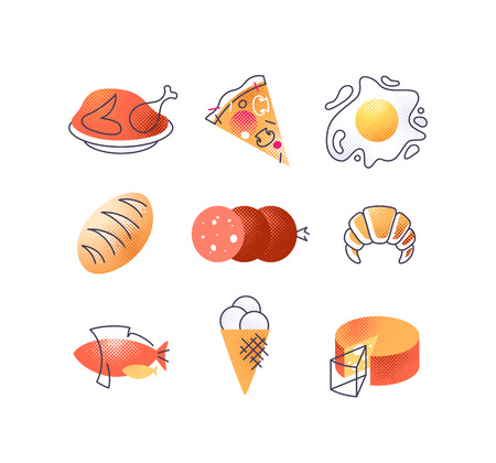 Set of gastronomy food icons, vector cuisine design elements collection.