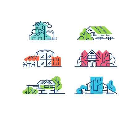 線と色の家、建物の概念。都市、高層ビルのシンボル、イラスト。  イラスト・ベクター素材