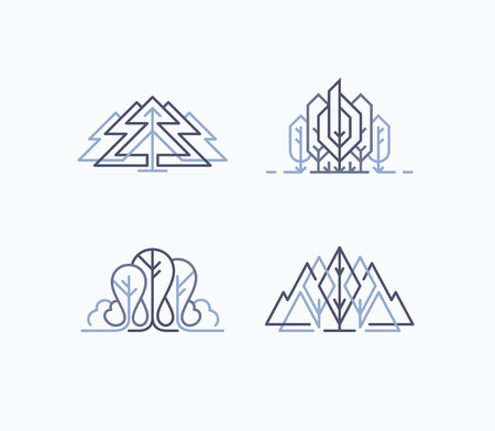 lineart: Set of graphical natural labels, monoline design eco signs and symbols with leaves and trees. Illustration