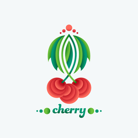 confiture: Abstract geometrical cherry ornamental design element. Vector flat fruit illustration for package. Illustration