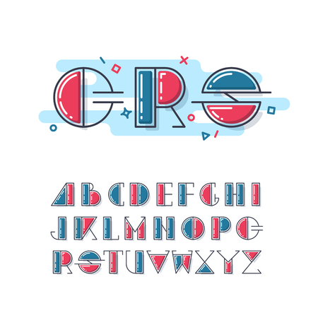 lineart: Mono line and color latin font, graphical upper case decorative type. Geometrical lineart alphabet. Illustration