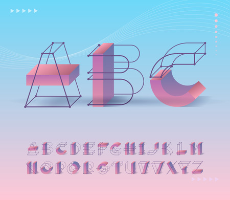Futuristic grid and geometry shapes pictograms type. Capital vector ABC letters for contemporary design and identity, posters. Illustration