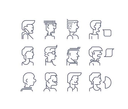Vector set of line persons, different characters collection. Outline faces icons, design elements. Ilustração