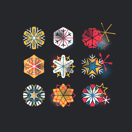 Set of color stylized and textured snowflakes, Christmas and New Year design elements for dark backgrounds.