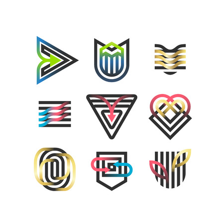 Vector set of abstract geometric symbols, thick black and gradient line logotypes and design elements.  Ilustração