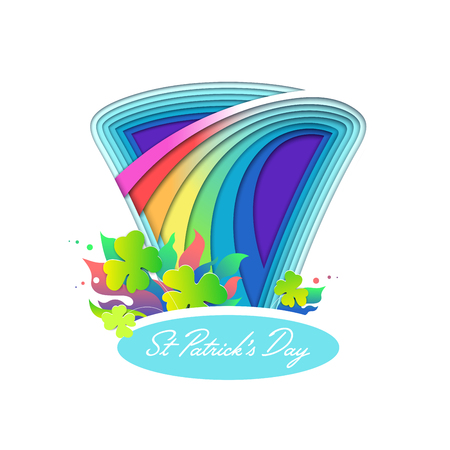 St Patrick day trefoil and leprechaun hat illustration with rainbow paper cut multi layered effect. Clover and leaves brightful vector greeting card.