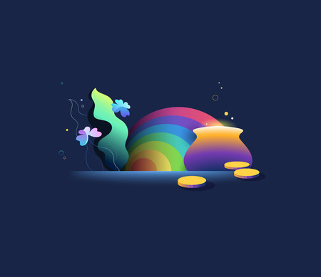 St Patrick day bright gradient illustration. Clover and pot with coins  vector cartoon. Greeting card with leprechaun treasure under the rainbow.  Ilustração
