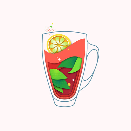Black tea with lemon creative illustration, hot herbal drink concept. Isolated cup with leaves. Layout cartoon in cut out paper style.