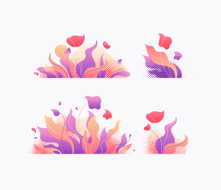 Trendy gradients' floral vector design elements. Isolated creative plants, grass and flowers objects.