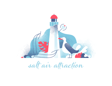 Lighthouse with seagull and anchor modern illustration. Marine and ocean theme seaside background. Stock Illustratie