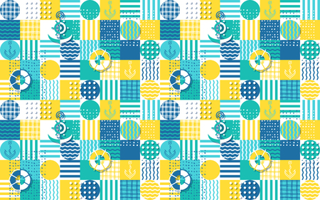 Seamless vector pattern with sea and anchors multicolor patchwork. Marine background.