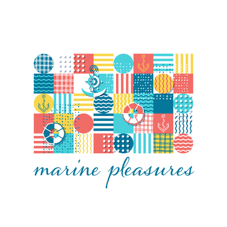 Abstract ornamental vector pattern with sea and anchors multi color patchwork.