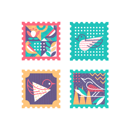 Ornamental set of color and textured postage stamps with nature symbols, birds and leafs.